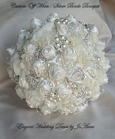 Items similar to OFF WHITE Jeweled Brides Bouquet - DEPOSIT for this Beautiful Custom Bouquet, Jeweled Bouquet, off white Bouquet, full price 425 on Etsy Bouquet Bling, Wedding Brooch Bouquets, Broschen Bouquets, Floral Bouquets, Bridal Flowers, Wedding Decorations, Wedding Ideas, Wedding Inspiration, Diy Wedding