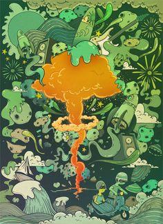 The Atomic Cream. Digital Illustration by oscar llorens, via Behance