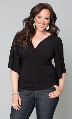 Keira Kimono Sleeve Top, Raven Black (Womens Plus Size) From the Plus Size Fashion Community at www.VintageandCurvy.com