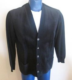 The Vintage Village - View Classified - Mens Rockabilly Sweater Vintage 1950s Black Wool Suede Leather