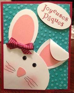 carte de Pâques avec un lapin aux petits yeux version filles en scrapbooking - Stampin' up