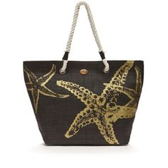 Kim Rogers Black Starfish Beach Tote ($20) ❤ liked on Polyvore featuring bags, handbags, tote bags, black, beach tote, tote purses, tote handbags, beach tote bags and handbag tote