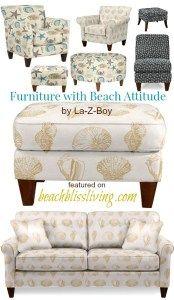 Lazyboy Chairs Ottomans Beach Seashell Starfish Fabric