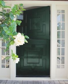 Front Door Paint Colors - Want a quick makeover? Paint your front door a different color. Here a pretty front door color ideas to improve your home's curb appeal and add more style! Exterior Doors, Exterior Paint, Exterior Design, Interior And Exterior, Front Door Paint Colors, Painted Front Doors, Best Front Door Colors, Paint Colours, Green Front Doors