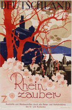 By Ludwig Hohlwein (1874-1949), c. 1929, Rheinzauber (Touristic poster). (Germany)