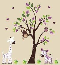 Jungle Animal Wall Decals-Jungle Animal Wall Decals with Tree Giraffe Monkey Elephant Owl, boys room wall decals stickers, girls boys room wall decor, nursery room decor, baby room wall decor | Bebe Diva