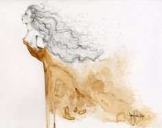 """Original Painting OOAK Fine Art Original Drawing Illustration Pencil Drawing with Coffee Staining """"Without Wings"""""""