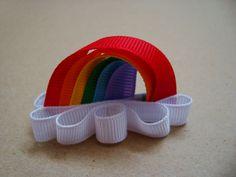 Rainbow Hair clip Super easy and fun Diy Hair Bows, Diy Bow, Bow Hair Clips, Hair Ribbons, Rainbow Ribbon, Rainbow Hair, Ribbon Art, Diy Ribbon, Ribbon Bows