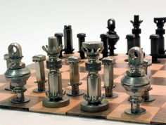 chess pieces made from nuts and bolts