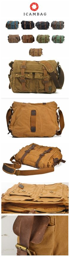 Canvas bag with real leather American and European vintage mailbag bag with a shoulder bag