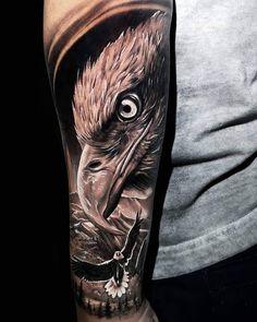 Amazing artist Michael D'agostini awesome bald eagle landscape scene arm tattoo! Eagle Tattoo Forearm, Bald Eagle Tattoos, Eagle Head Tattoo, Native Tattoos, Tattoo Neck, Forarm Tattoos, Leg Tattoos, Body Art Tattoos, Tattoos For Guys
