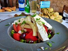 Maria Athanasopoulou shows us seven Greek delicacies you should . Feta, Greek Cheese, Olive Bread, Greek Olives, Tasty, Yummy Food, Healthy Eating Habits, Greek Salad, Mediterranean Recipes