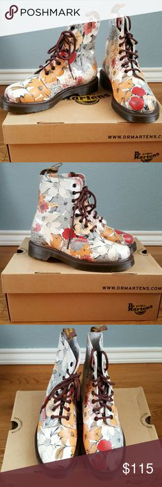 NIB Dr. Martens Floral Combat Boots Boho Grunge Brand new, never worn, in box. RARE Dr. Martens Floral Pascal boots in fall shades of brown, white, orange & red. Super cute! Brown sole, Brown laces, very bohemian grunge. UK 4, US women's size 6-6.5 Dr. Martens Shoes Combat & Moto Boots