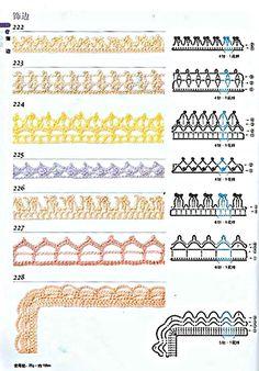 300 crochet patterns book - motifs,edgings - 2006 - Tayrin 3 - Álbuns da web do Picasa Crochet Edging Patterns, Crochet Borders, Crochet Diagram, Crochet Chart, Crochet Trim, Diy Crochet, Crochet Stitches, Crochet Hooks, Stitch Patterns