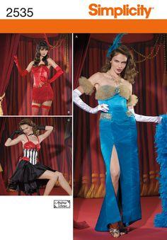 2535Misses Costumes Burlesque costumes - Misses' burlesque dress sewing patterns