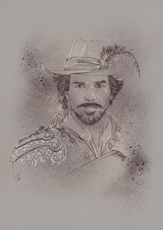 The Musketeers fan art - Aramis Bbc Musketeers, The Three Musketeers, The Muskateers, Aramis And Anne, Tom Burke, Bbc Tv Series, King And Country, Wonderful Picture, Black N White Images