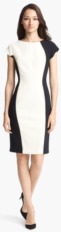 Escada Bicolor Stretch Wool Dress WW