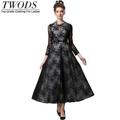Vintage Lace Dress Long Sleeve O-neck Slim Fit Flare Maxi Long Party Black Like if you remember http://www.artifashion.net/product/vintage-lace-dress-long-sleeve-o-neck-slim-fit-flare-maxi-long-party-black/ #shop #beauty #Woman's fashion #Products