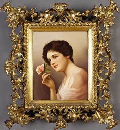 KPM porcelain plaque ~ Depicting a dark-haired maiden holding a pink rose ~ signed Wagner ~ Origjn Germany Circa 1801-1900