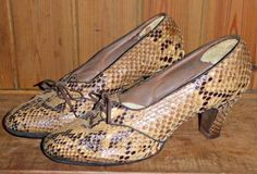 VINTAGE-40S-1940S-SNAKESKIN-SHOES-DOLCIS-DELUXE-UK-5-WWII-GOODWOOD-TWINWOOD