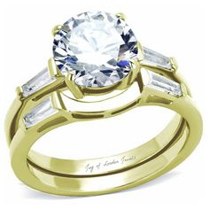 2CT Perfect Round Diamond Cut Russian Lab Diamond 14K Gold Baguette Accents Promise Engagement Anniversary Wedding Ring
