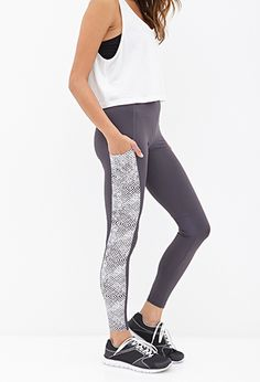 Dot Print Paneled Leggings F21