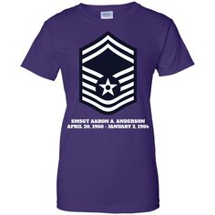 Air Force Senior Master Sergeant Rank Ladies Custom 100% Cotton T-Shirt