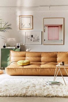 honey gold leather sofa. / sfgirlbybay