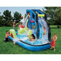 Banzai Battle Blast Water Slide -- Check out this great product. (This is an affiliate link) Banzai Water Slide, Kids Water Slide, Water Slides, Backyard Water Parks, Diy Projects For Adults, Inflatable Water Park, Bouncy House, Kid Pool, Play Pool