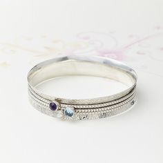 Bronze And Silver Spinning Ring and Bangle Set   Charlotte's Web