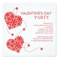 Hearts Martini Valentines Day Party Invitation  Party Invitations