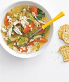 This was a great soup - I used rotisserie chicken and then buckwheat (Kasha) instead of the pasta... Really good.