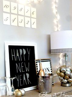 Here is a design I did for the Hometalk + Lamps Plus 2013 Holiday Design Challenge. By using a Fillable Clear Glass Ovo Lamp from Lamps Plus you can create a st… New Year's Eve Crafts, Touchless Kitchen Faucet, Chalkboard Markers, Marker Board, Sign Display, New Years Decorations, New Years Eve Party, Seasonal Decor, Christmas Diy