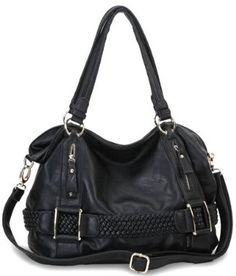 Weave Pattern Belt Accent Double Handle Top Closure Soft Hobo Bowler Satchel Office Tote Shoulder Bag Handbag Purse --- http://www.pinterest.com.luvit.in/5il