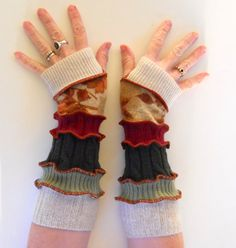 Upcycled Sweaters Fingerless Gloves Arm Warmers