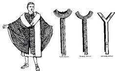 The pallium was a long narrow band of white wool worn by popes and archbishops.  One band would fall in the front and one would fall in the back.