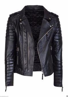 Details about  /Men Leather Jacket Black Slim Fit Motorcycle Biker Genuine Lambskin Jacket