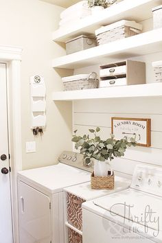 Small laundry room organization and decor ideas. How to maximize your space in a… Small laundry room organization and decor ideas. How to maximize your space in a small laundry room on a budget Small Laundry Rooms, Laundry Room Organization, Laundry Room Design, Laundry In Bathroom, Basement Laundry, Organization Ideas, Storage Ideas, Shelving Ideas, Laundry Room Shelving