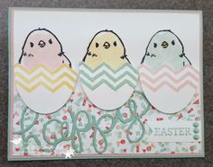 My eggs were created by stamping the chevron pattern from the Work of Art stamp set onto a piece of scrap paper, cutting an egg shape with my Oval Framelits Dies and trimming the top along the stamped chevron line with my paper snips. The chicks were colored in with another stamp from the Work of Art set.16 0120 SAB1
