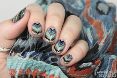 A Deb Shops scarf was used as inspiration for this chevron mani by Wondrously Polished!