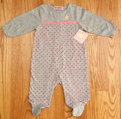 Juicy Couture Baby Girl Footie Sleeper Coverall ~ Gray & Pink ~ Polka Dot ~ #JuicyCouture #BabyJuicy