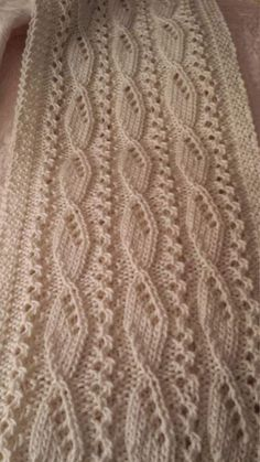 A gorgeous textured ivory scarf for the discerning woman. by on Etsy Knitting Daily, Knitting Stiches, Easy Knitting Patterns, Sewing Stitches, Crochet Stitches Patterns, Lace Patterns, Knitting Designs, Baby Knitting, Stitch Patterns