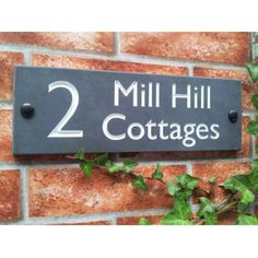 Our most popular slate house address plate. Great for house names with house number or street address signs House Address Sign, House Names, House Signs, Slate, Home And Garden, Chalkboard, Home Signs