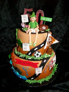 Steve's Road of Life by sandrascakes good ideas here to inspire a cake that shows your man's journey in life to the age he is turning.