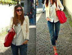 Sacha Heeled Sandals // Mango Sunglasses // Zara Boucle Jacket // Vila  Denim Shirt // Zara Bag // H Boyfriend Jeans