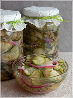Uborkasaláta hagymával télire Croatian Recipes, Hungarian Recipes, Hungarian Cuisine, Larder, Recipes From Heaven, Cucumber Salad, Sweet And Salty, No Bake Cake, My Recipes