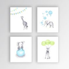 Baby Boy Nursery Decor, Canvas Nursery Art, Blue and Green Nursery, Elephant Nursery, Safari Animals, Set of Four Canvas Prints by TheDaisyFields on Etsy https://www.etsy.com/listing/225932099/baby-boy-nursery-decor-canvas-nursery