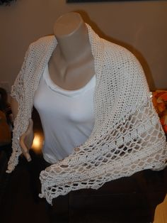 Hand crocheted triangle shawl with Czech glass beads