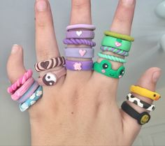 Fimo Ring, Polymer Clay Ring, Fimo Clay, Polymer Clay Crafts, Funky Jewelry, Cute Jewelry, Diy Clay Rings, Keramik Design, Clay Art Projects