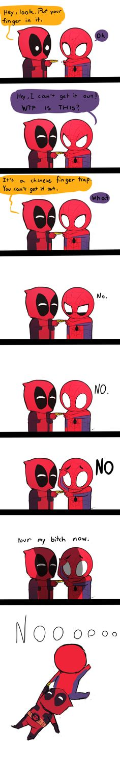 Deadpool and Spiderman Chinese Finger Trap by Smile-Test on DeviantArt - This is really funny XD 😂😂😂 Hulk Smash, Marvel Dc Comics, Marvel Avengers, Marvel Memes, Deadpool Und Spiderman, Deadpool Funny, Batman, Johnlock, Destiel